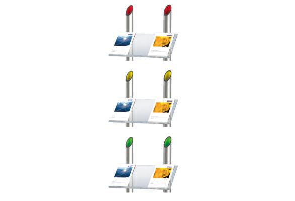 Prospektregal A4 LUBBOCK - farbige Einsätze