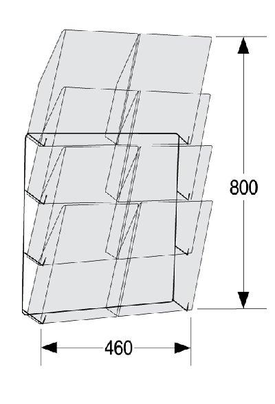 Wandprospekthalter A4 MADISON - Maße